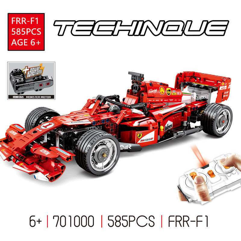 585Pcs FRR-F1 Technic Remote Control RC Racing Car Racer Electric Building Blocks Sets Bricks Educational Toys for Children image