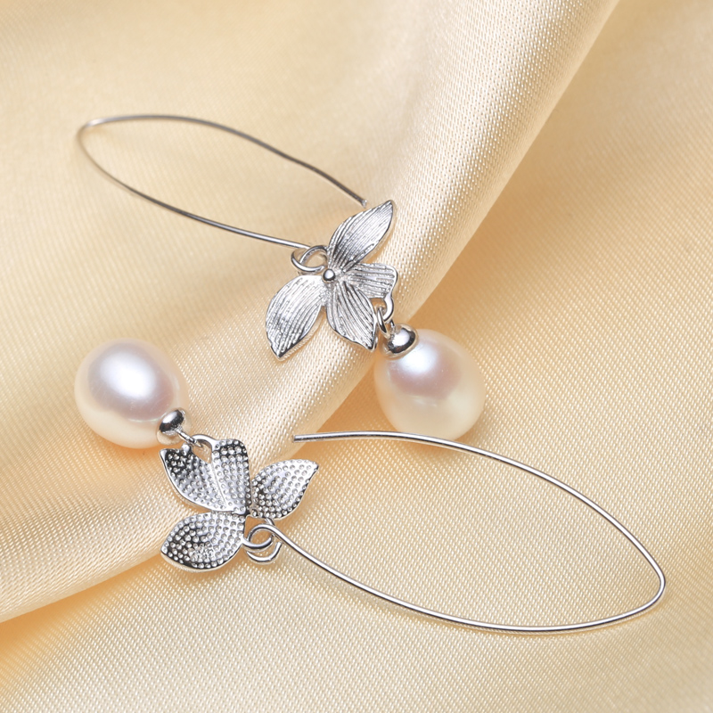 Eternal wedding Women Gift word 925 Sterling silver real beautiful freshwater pearl pearl drop font b