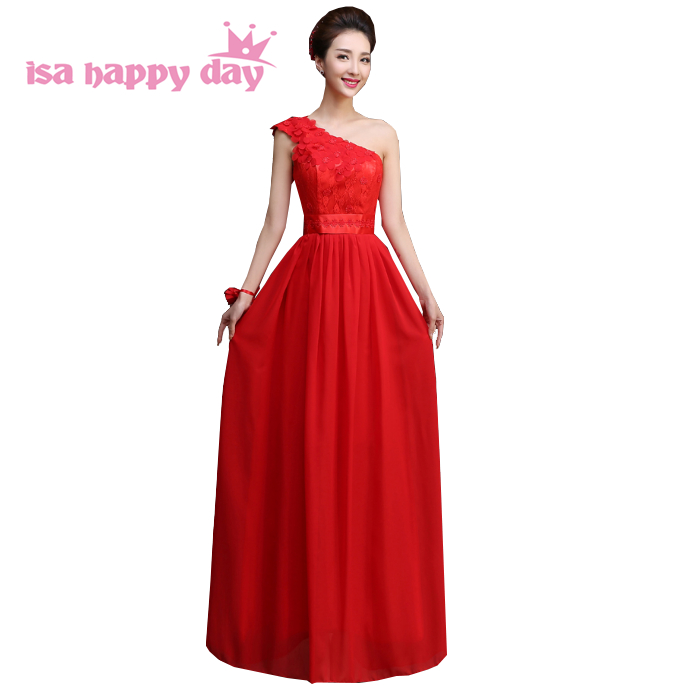 robe soiree greek style lace appliques one-shoulder red long   bridesmaid   pageant   dresses   for adult   bridesmaids     dress   H4234