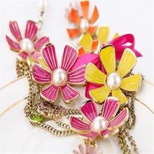 ENZE Free shipping Fashion fashion accessories gaudiest multicolour flower pendant medium-long necklace