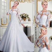 Hấp dẫn Tulle Jewel Đường Viền Cổ Áo A Line Wedding Dress Với Appliques Ren Dài Tay Áo Trắng Bridal Gown vestidos de fiesta largo