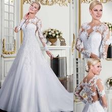 น่าสนใจ Tulle อัญมณีคอ A Line ชุดแต่งงานลูกไม้ Appliques ยาวสีขาวชุดเจ้าสาว vestidos de fiesta largo