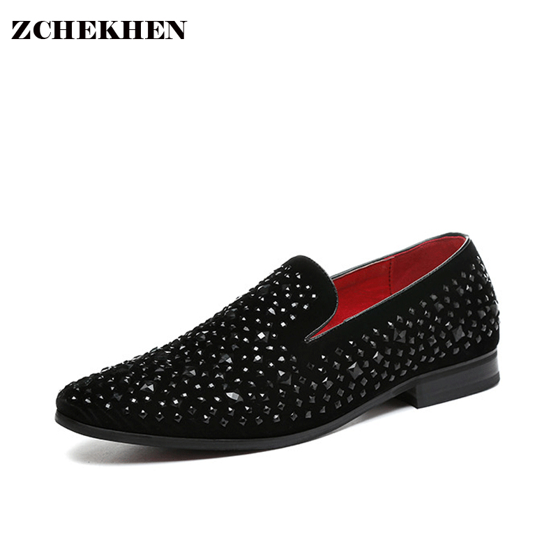 Europe bling Flat Leather Shoes Rhinestone Fashion Mens Loafer Dress  party Shoes Men Casual Diamond Pointed Toe Shoes black карабин black diamond black diamond rocklock twistlock