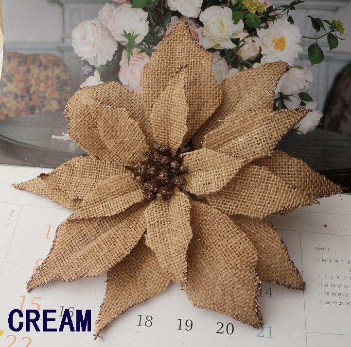 Free shipping D23cm BURLAP Poinsettia flowers Wclip W