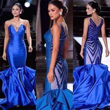 2017 neue Pageant Abendkleider Blue Mermaid Sparkly Pailletten Rüschen Satin Sweep Zug Dachte Taste Reizvolles Formales Abschlussball-kleider