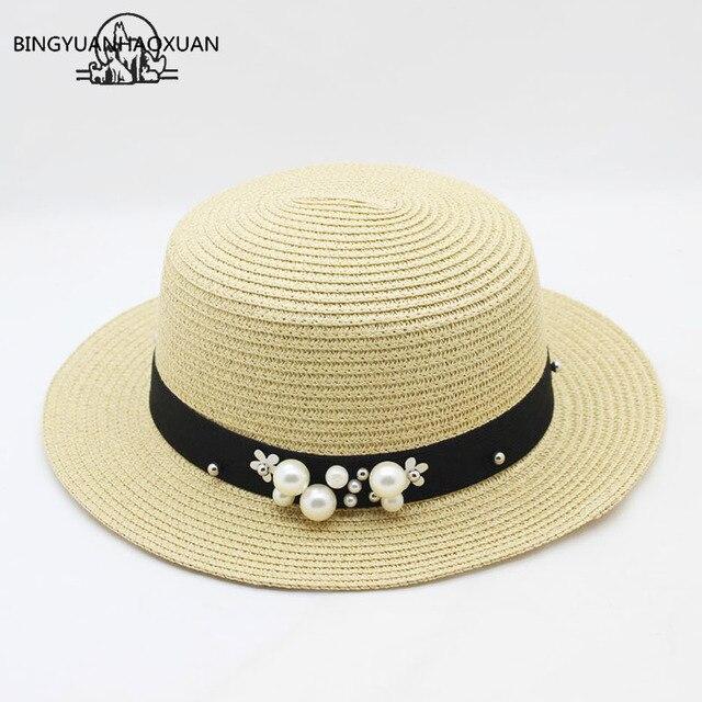 BINGYUANHAOXUAN Chapéu de Sol de Verão 2018 Novidade Para As Mulheres Bonés Chapéu De Palha Moda Inglaterra Mar Viagem de Praia Caps