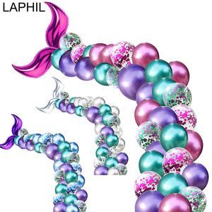 Image 1 - Laphil 44pcs 작은 인어 파티 풍선 장식 인어 생일 파티 어린이 결혼식 이벤트 파티 배경 용품을 선호한다