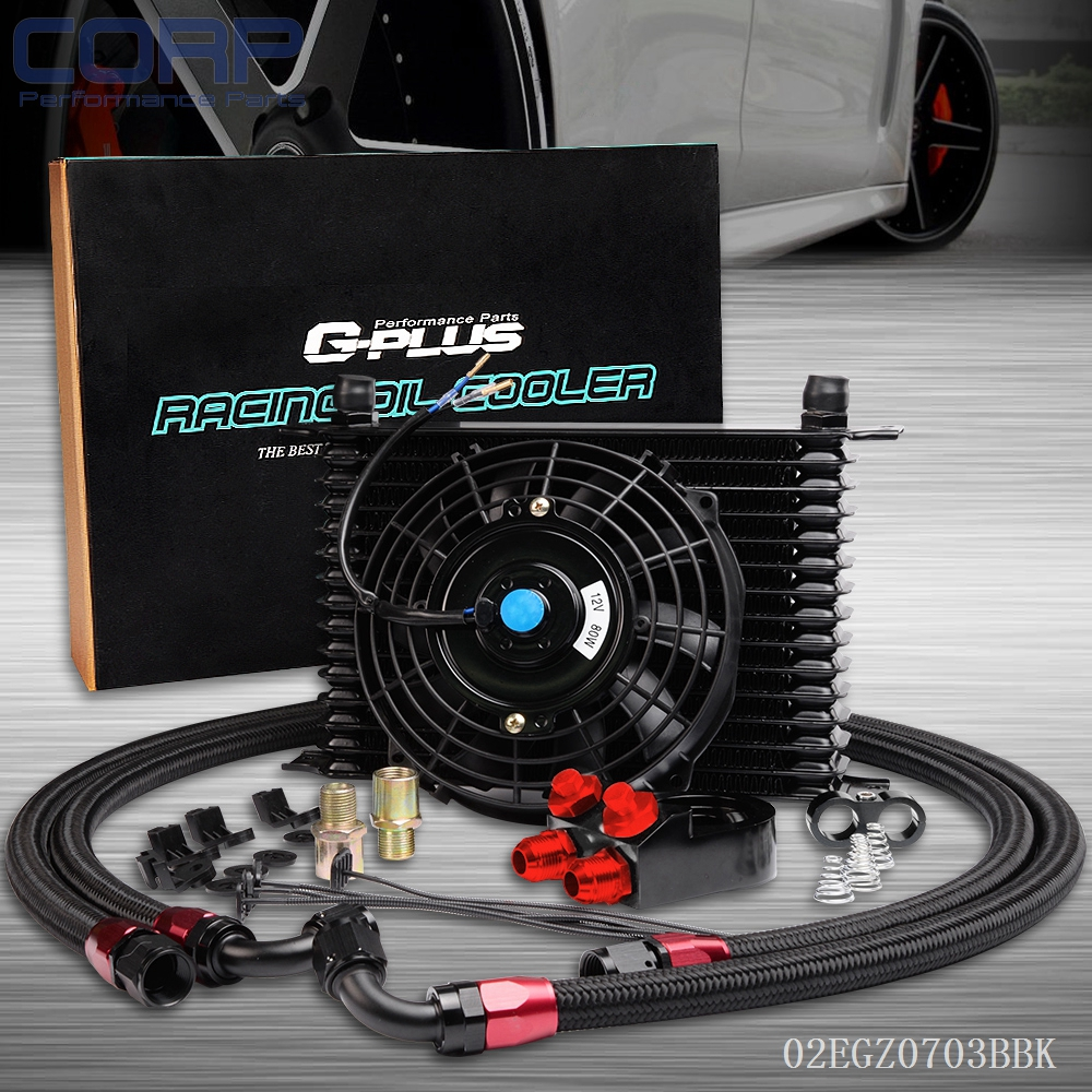 15 Row AN-10 Universal Engine Oil Cooler Kit+Aluminum Hose End+7 Universal Fan pqy store blue 15 row an 10an universal engine oil cooler kit aluminum hose end kit pqy5128