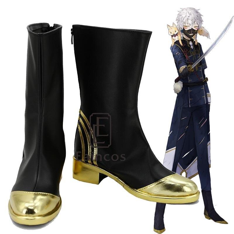 Touken Ranbu Online Nakigitsune Cosplay Party Shoes Black Boots Custom-made