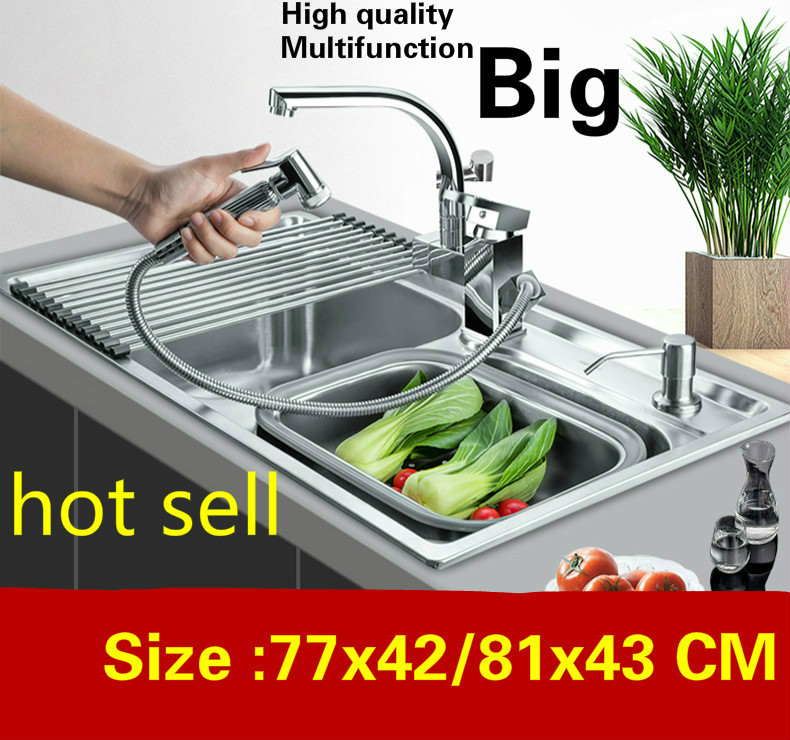 Free Shipping Apartment Big Kitchen Double Groove Sink Do The Dishes Luxury 304 Stainless Steel Hot Sell 770x420/810x430 MM