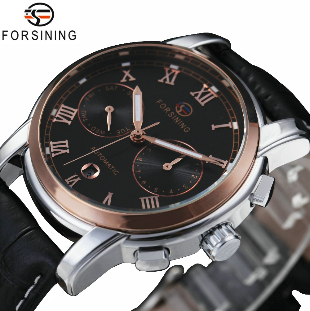 FORSINING Fashion Men's Automatic Watches Small Sub-dials Display Top Brand Luxury Mechanical Wristwatches Leather Watch Band curren 8138 men s dual display watch with leather band 3 sub dials