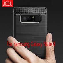 JCDA For Samsung Galaxy Note 8 Note8 phone Case bag Carbon Fibre Brushed TPU soft protective Smart back cover shell Shockproof