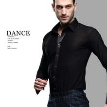 Black Latin Dance Shirts Male Long Sleeves Dancing Jacket Shirt Mens Ballroom Chacha India Salsa Paso Clothes B-5999