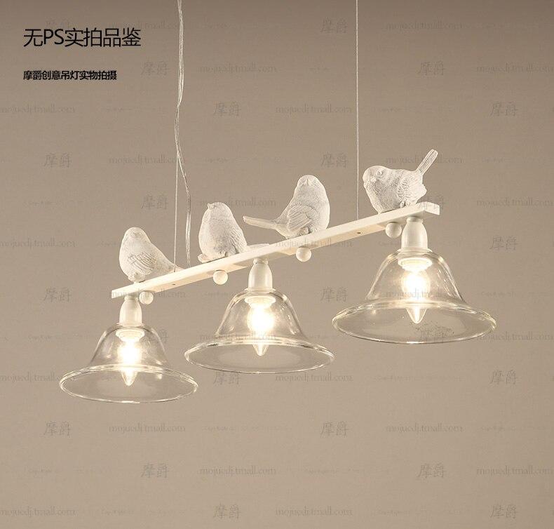 Скандинавский современный подвесной светильник с железной птицей, светильник со стеклянным абажуром, подвесной светильник для столовой, с