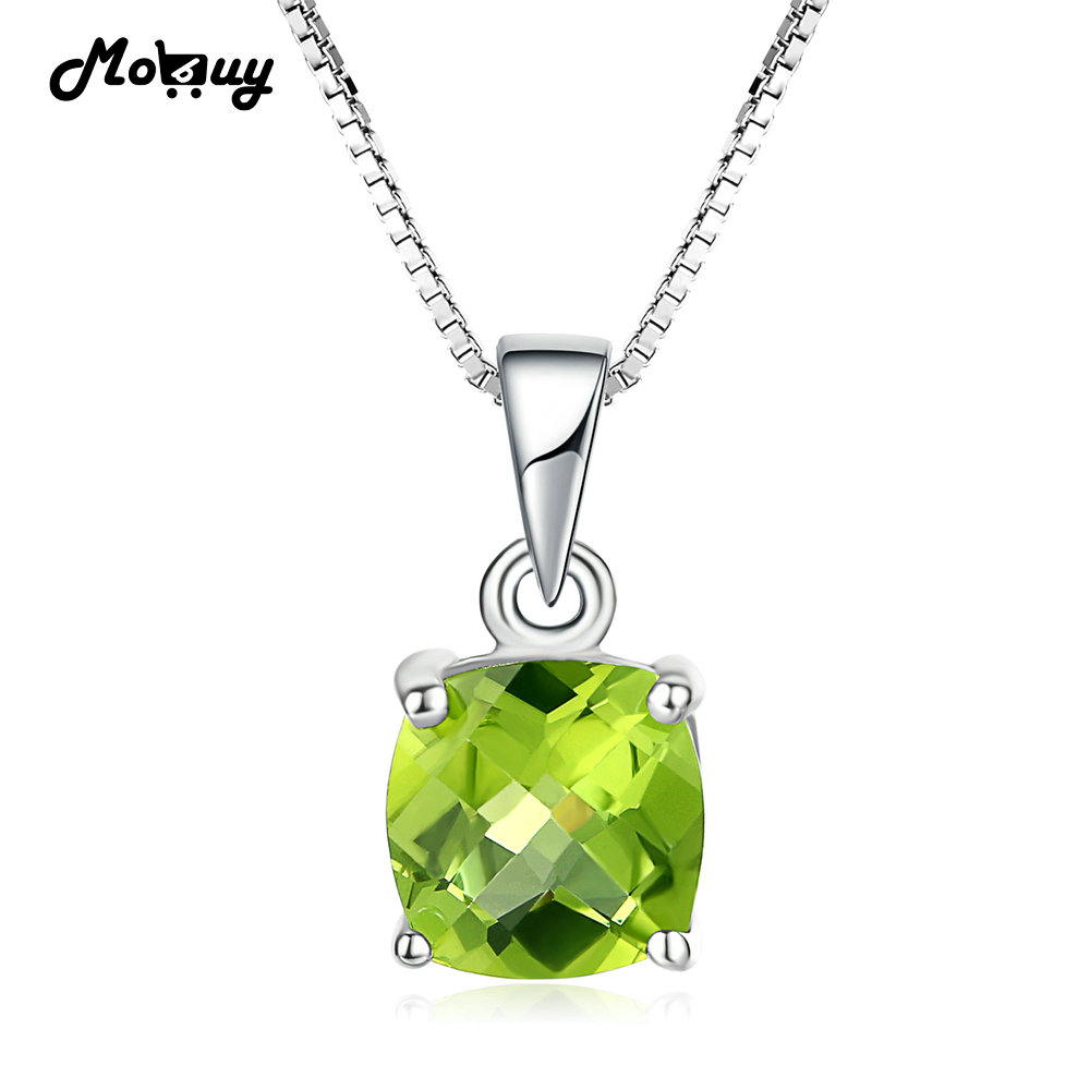 MoBuy MBNI037 квадратным вырезом природных драгоценный камень хризолит решетки ожерелья и кулоны 925 стерлингового серебра--изделия белого золота...