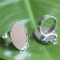 100pcs Lot 18 25mm Oval Lace Ring Blank With Cameo Tray Silver Plated Ring Bases Setting