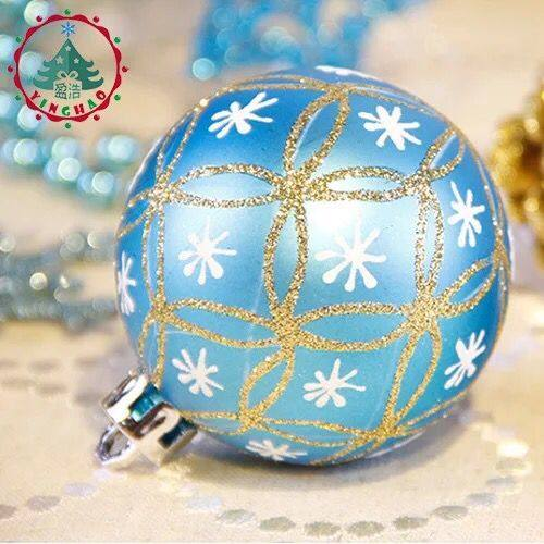 luxury painted christmas ball 6cm blue gold color christmas tree ornaments shop decoration color ball wholesale - Luxury Christmas Decorations Wholesale