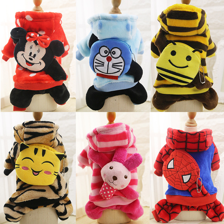 Hot sale 4 legs Dog Clothes Flannel Winter Pet Dog Clothes With Small Cartoon Pockets For Pet Small Big Larger Dog Coat