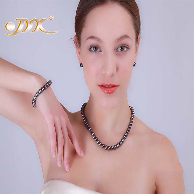 JYX Necklace Sets 9-10mm AA Black Flat Round Freshwater Pearl Necklace, Bracelet and Stud Earrings Set a suit of chic fake pearl rhinestoned round clover necklace and earrings for women page 9