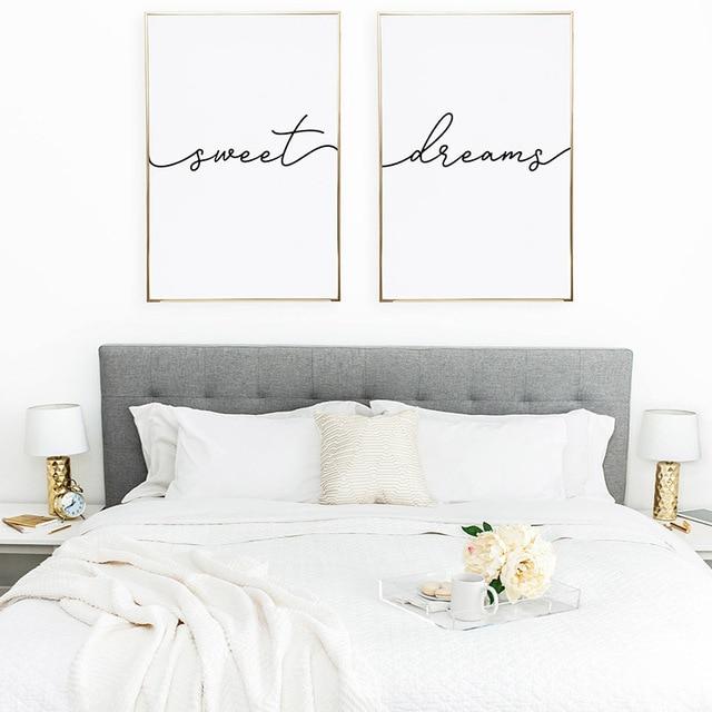 Etonnant Modern Wall Art Minimalist Poster Above Bed Art Decor Nursery Canvas  Painting Sweet Dreams Print Bedroom