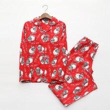 Czerwone piżamy kobiety jesień zima boże narodzenie nowy rok owce szczotkowane bawełny z długim rękawem elastyczny pas luźny salon piżamy S87394