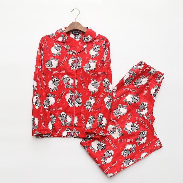 Red Pajamas Women Autumn Winter Christmas New Year Sheep Brushed Cotton Long Sleeve Elastic Waist Loose Lounge pyjamas S87394