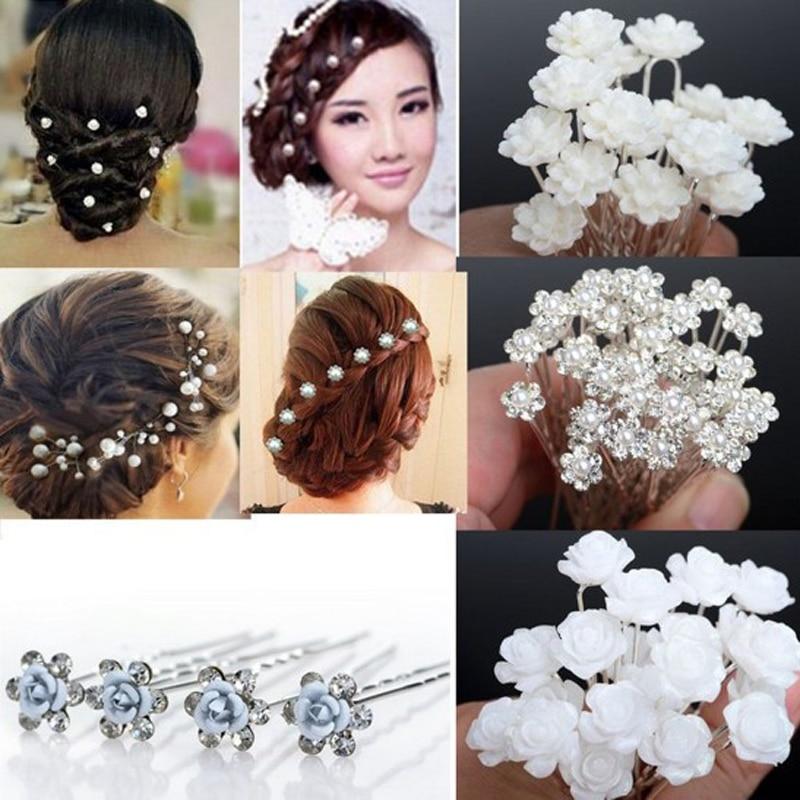 d98b2263e542 Al por mayor nueva 20 40 unids lotes de Boda nupcial de cristal perla de  Faux flor horquillas pernos de pelo envío gratis