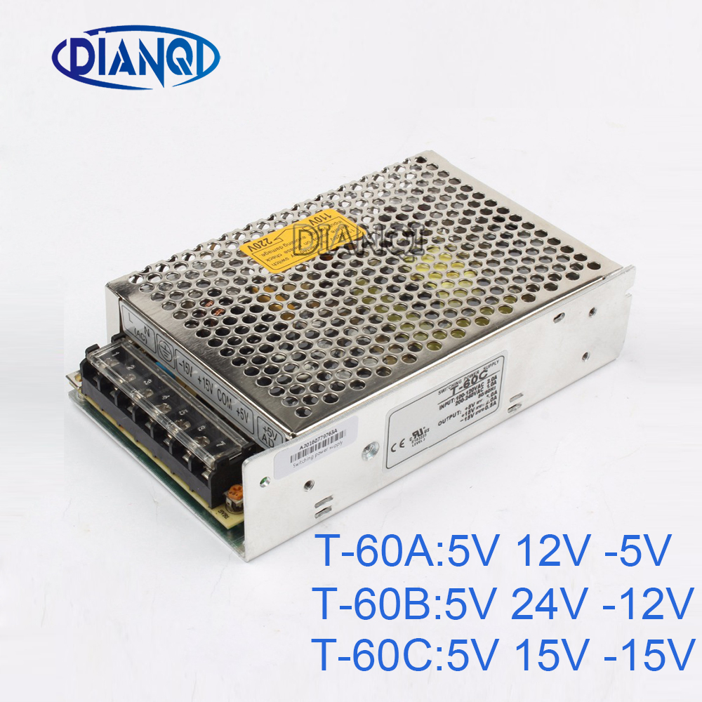 цены DIANQI -5V Triple output Switching power supply 60w 5V , 15V , -15V power suply T-60 24V ac dc converter adjustable