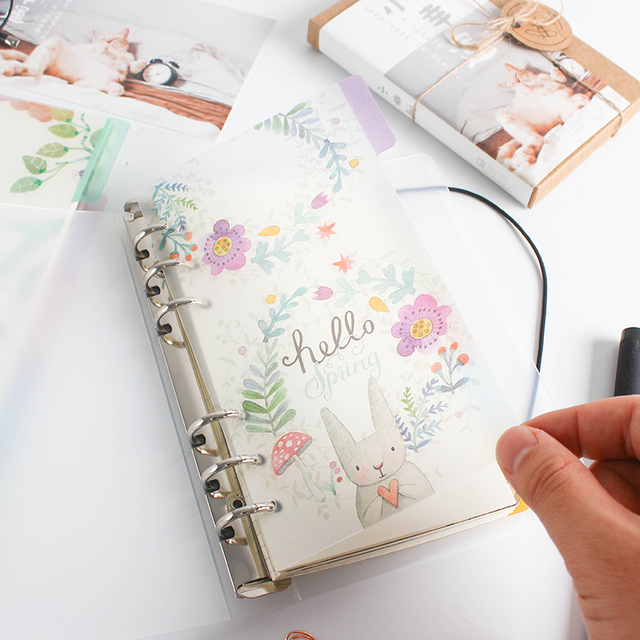 5pcs /lot A5 A6 Original Kawaii Spiral Notebook Divider Cute Fine Organizer Separator Pages Office School Stationery Index Paper Notebooks