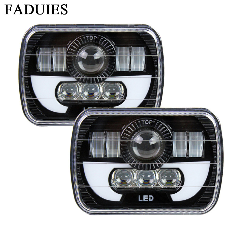 5x7 LED Square Headlight W/ DRL Replace H6054 H5054 H6054LL 69822 6052 For Jeep Wrangler YJ Cherokee XJ Trucks 4X4 Offroad