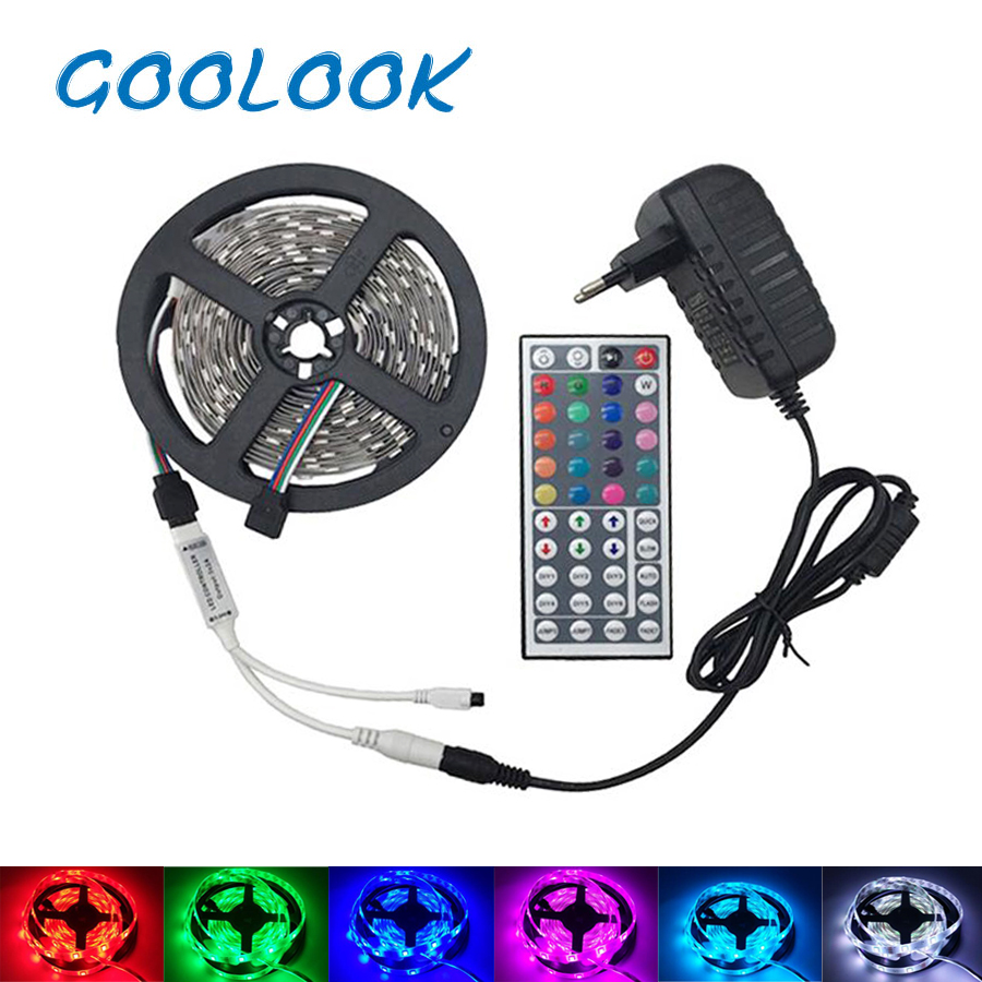 Goolook RGB LED Strip Light Waterproof RGB Strip SMD 5050 Flexible diode LED Tape + IR Remote Controller + DC12V Power Adapter 10m 5m 3528 5050 rgb led strip light non waterproof led light 10m flexible rgb diode led tape set remote control power adapter