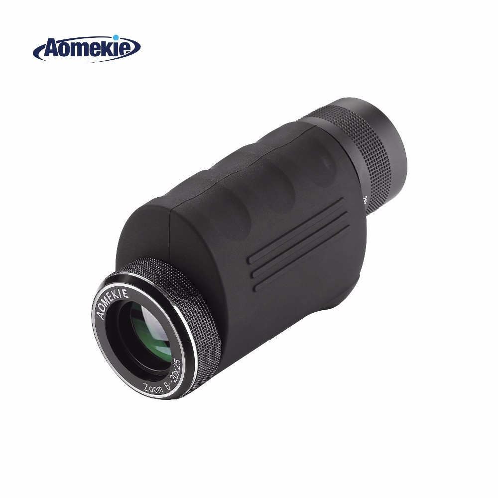 AOMEKIE 8-20X25 Monocular Zoom Prisma de Vidro HD Prático HD Golf Bird Watching Caça Telescópio Handheld Spotting Scope