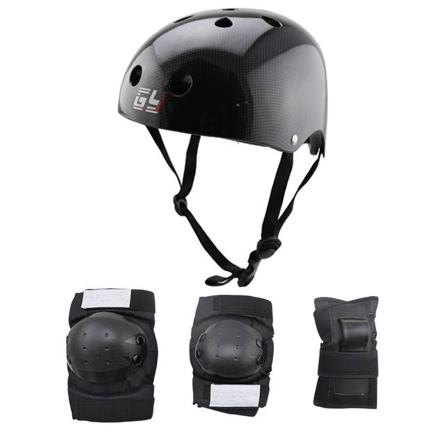 Children Body Protector And Black Bicycle Helmet Or Balance Wheel Roller Skating Gear With