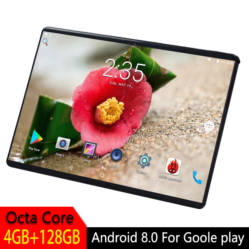 Tablets PC 10.1 Inch Android 8.0 For Google Play Octa Core 4G 128GB GPS WIFI 3G SIM Card IPS 2.5D Tempered Glass Screen Tablet