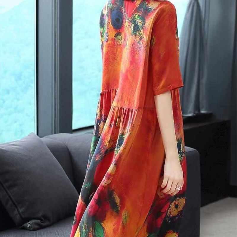 Wanita Gaun Musim Panas Ukuran Plus Pola Cetak Linen Warna-warni Wanita Longgar Kasual Retro Vintage Ukuran Besar Gaun