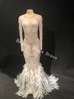 Блестящие жемчуг кристаллы Сетчатое платье пикантные Стразы красивое платье этап одежда вечер праздновать танцевальный костюм одежда