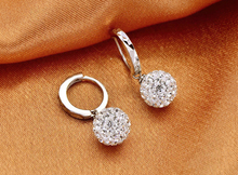 Crystal Shamballa Princess Ball 925 Sterling Silver Women Stud Earrings