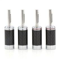 8 stücke Carbon fiber rhodiniert lautsprecher kabel stecker hifi audio banana stecker