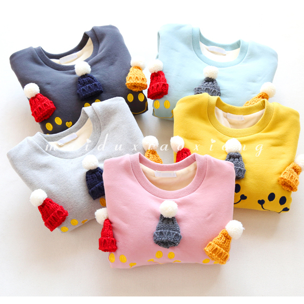 girl sweatshirt for kids 2017 new autumn winter thicken warm girls hoodies long sleeve catoon knitted hat pullover for kids 2-7T