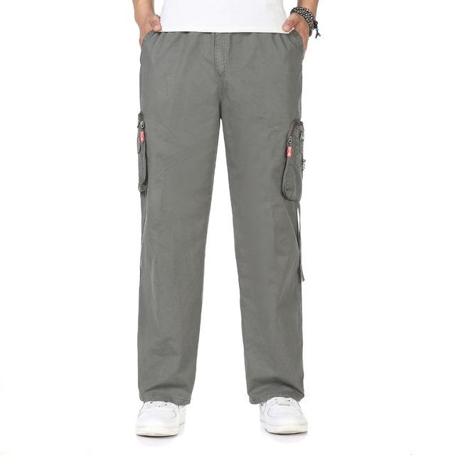 Hombre Pantalones Casuales de Carga Negro Gris Amarillo Verde Del Ejército Mens Generales Multi Bolsillos Holgados Tousers Para Los Hombres Más Tamaño Pantalones 2XL 3X