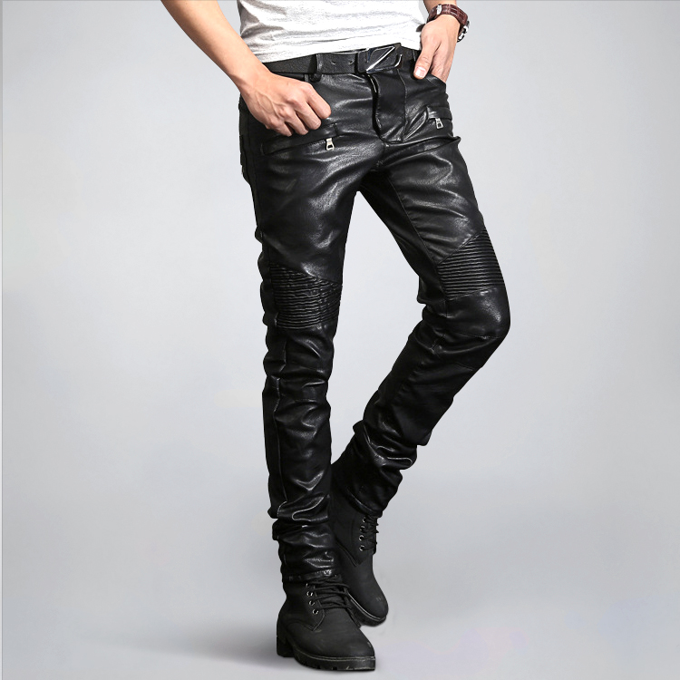 Men pants Faux Leather pants skinny rock rivet motorcycle leather trousers zipper black oversize pants size 28-38 luxury quality