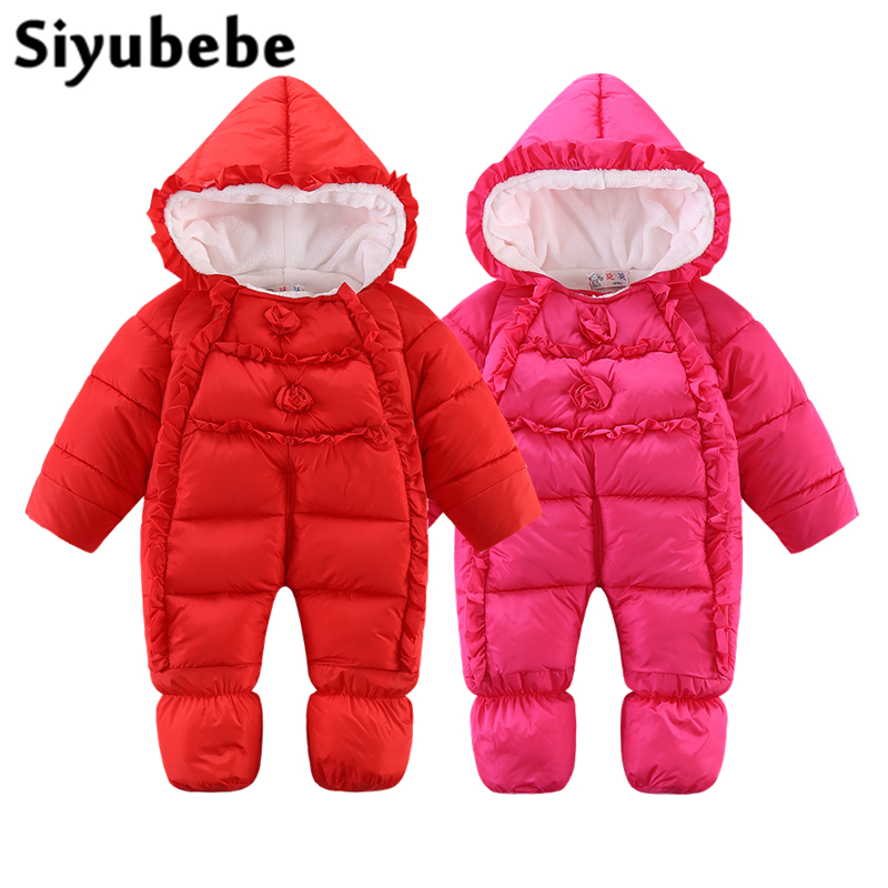Siyubebe 2017 NEW Baby Rompers Winter Thick Warm Baby Girl Clothing Long Sleeve Hooded Jumpsuit Kids Newborn Outwear for 0-12M new baby rompers winter thick warm baby boy clothing long sleeve hooded jumpsuit kids newborn outwear for 0 12m