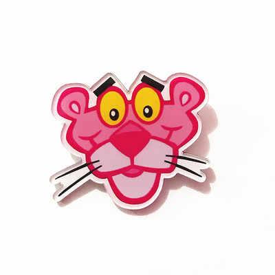 1Pcs Kartun Lucu Merah Muda Panther Hewan Acrylic Bros Lencana untuk Wanita Ransel Pakaian Dekorasi Ikon Bros Pin Anak-anak Hadiah