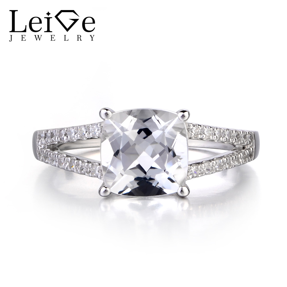 Leige Jewelry Natural White Topaz Solid 925 Silver Ring Cushion Cut Gemstone November Birthstone Promise Wedding Rings for WomenLeige Jewelry Natural White Topaz Solid 925 Silver Ring Cushion Cut Gemstone November Birthstone Promise Wedding Rings for Women