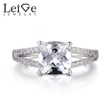Leige Jewelry Natural White Topaz Solid 925 Silver Ring Cushion Cut Gemstone November Birthstone Promise Wedding Rings for Women