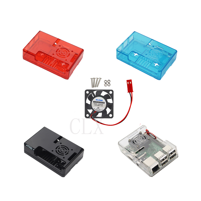 Raspberry Pi 3 ABS Case Transparent / Red / Blue Clear Box Cover Shell + CPU Cooling Fan Compatible For Raspberry Pi 3 Model B+
