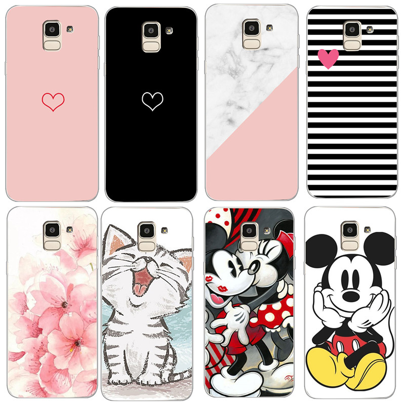 Phone Case For Samsung S8 S9 Plus S7 Edge Note 9 A5 J5 2017 A8 Plus A7 <font><b>2018</b></font> Flower Cat Marble Case Cover Skin Funda Coque image