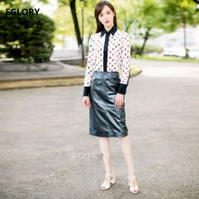 New 2018 Spring Skirt Suits Ladies Sweethearts Print Shirts+High Quality PU Leather Skirts Set Women Casual Office Suits Sets