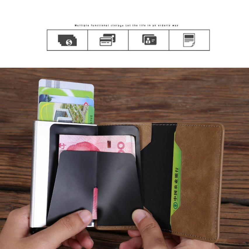 Xiniu Men Business Card Holder Metal Men Women Alloy Leather Cover ...