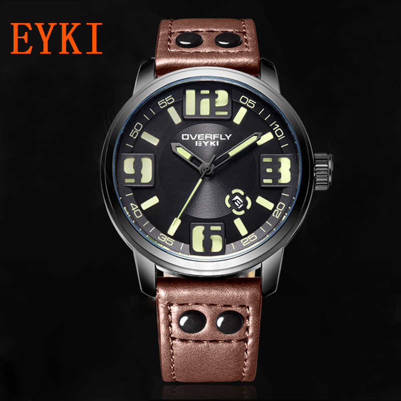 EYKI Top Luxury Brand Men Watches Quartz Movement Casual Wristwatches Leather Strap Wristwatches Men Military Sport Watches